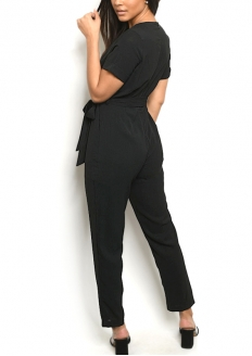 Short Sleeve V-neck Overlap Tie Belt Jumpsuit - Black