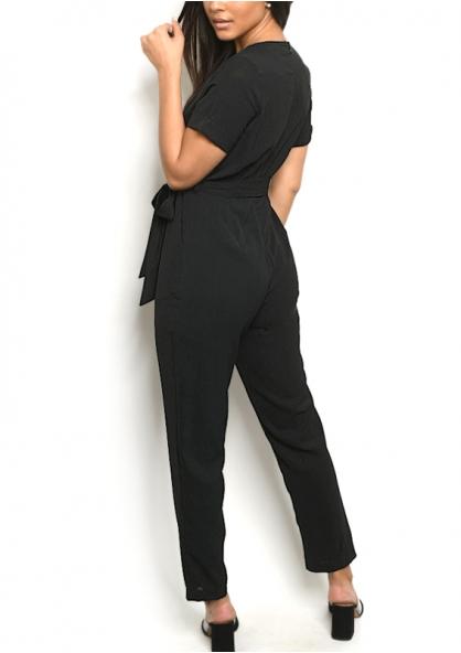 Short Sleeve V-neck Overlap Tie Belt Jumpsuit - Black