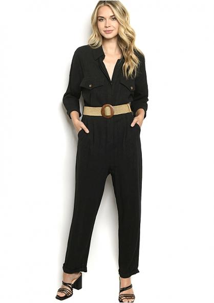 Belted 3/4 Sleeve Jumpsuit - Black