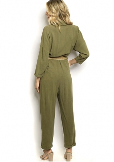 Belted 3/4 Sleeve Jumpsuit - Green