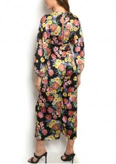 Long Sleeve Wide Leg Floral Jumpsuit - Black