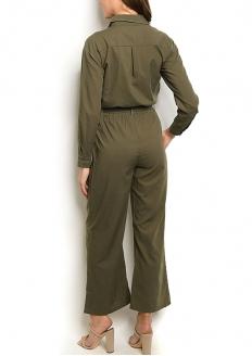 Long Sleeve Wide Hem Jumpsuit - Olive