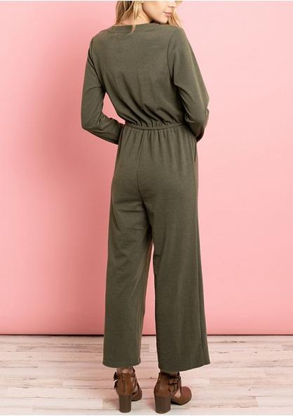 Long Sleeve V-neck Wide Leg Jumpsuit - Green