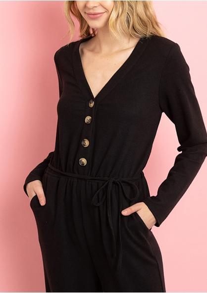 Long Sleeve V-neck Wide Leg Jumpsuit - Black