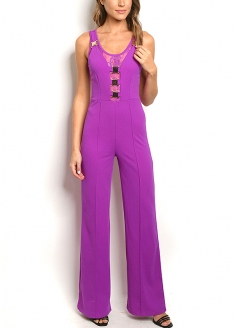 Sleeveless Buckled Detail Lace Back Jumpsuit - Fuchsia
