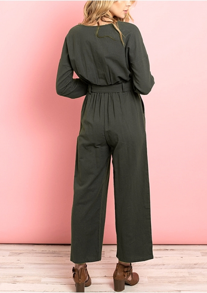 Long Sleeve Scoop Neck Wide Leg Jumpsuit - Green