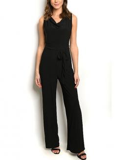 Sleeveless Cowl Neck Straight Leg Jumpsuit - Black