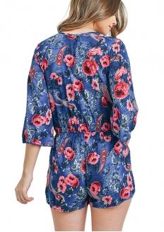 3/4 sleeve V-neck Crossover Floral Print Romper - Blue