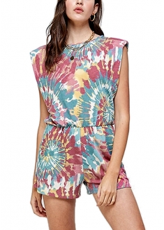 Tie Dye Print Dress With Shoulder Pads