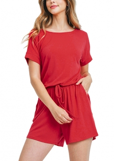 Short Sleeve Romper - Red